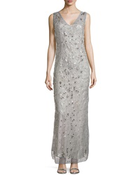 Philosophy Di Alberta Ferretti Beaded And Studded V Neck Gown Gray