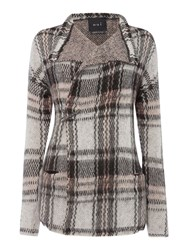 Oui Check Knit Chunky Cardigan Grey