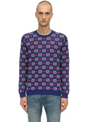 Gucci Gg And Star Cotton Knit Sweater Blue