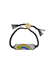 Venessa Arizaga 'Rainbow Smiley' Bracelet Black