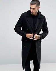 Asos Wool Mix Belted Double Breasted Overcoat With Borg Collar Black