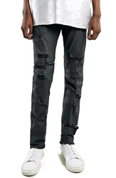 Topman 'Aaa Collection' Wax Coated Stretch Skinny Fit Jeans Black