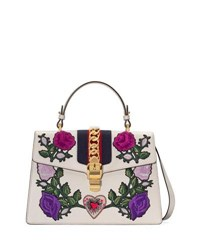 f0bb1a35be8c Gucci Sylvie Medium Floral Embroidered Leather Top Handle Satchel Bag White  Pattern