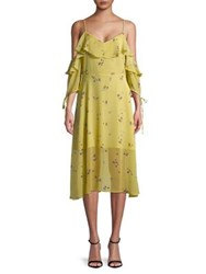 Design Lab Lord And Taylor Floral Cold Shoulder Ruffle Dress Yellow