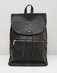 Asos Soft Backpack With Zip Detail Black