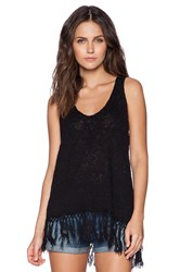Central Park West Fringe Tank Black