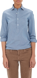 Salvatore Piccolo Chambray Henley Shirt Blue