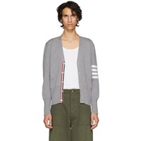 Thom Browne Grey Classic Four Bar V Neck Cardigan