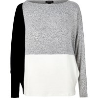 River Island Womens Grey Color Block Batwing Top