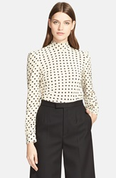 Red Valentino Polka Dot Bow Silk Blouse Black White