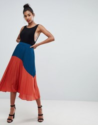 Boohoo Color Block Pleated Midi Skirt In Multi Multi