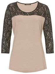 Betty Barclay Jersey And Lace Top Taupe Black