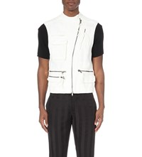 Haider Ackermann Military Cotton And Linen Blend Gilet Creme