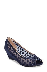 Pink Paradox London Women's Brianna Crystal Embellished Lace Wedge Navy