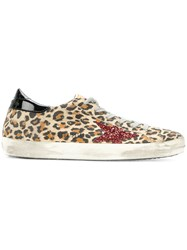 Golden Goose Deluxe Brand Superstar Glitter Leopard Print Sneakers Women Cotton Calf Leather Leather Foam Rubber 39 White