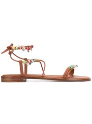 Red Valentino Beaded Sandal Women Calf Leather Leather 37 Brown