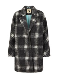 Yumi Oversized Check Coat Grey