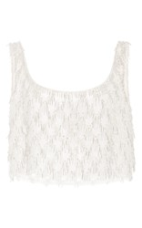 Oscar De La Renta Sleeveless Bubble Bead Fringe Top Silver