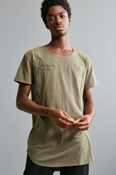 Urban Outfitters Embroidered Long Loose Scoopneck Tee Olive