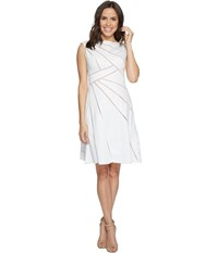 Adrianna Papell Cotton Sateen Fit And Flare Dress White Bisque Women's Dress