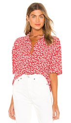 Amuse Society Miaou Short Sleeve Blouse In Red. Spice