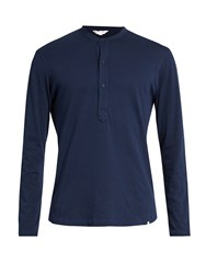 Orlebar Brown Craine Long Sleeved Henley Top Navy