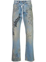 Off White Diagonal Wizard Relaxed Fit Jeans Blue