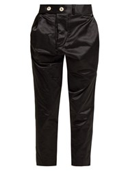 Vivienne Westwood Anglomania High Rise Cotton Blend Satin Trousers Black