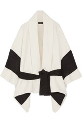 Rag And Bone Britton Striped Merino Wool Blend Cape Off White