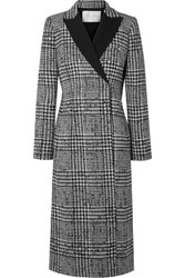 Carolina Herrera Double Breasted Crepe Trimmed Prince Of Wales Checked Wool And Silk Blend Coat Black