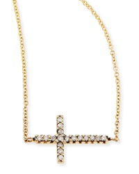 Mizuki Pave Diamond Side Cross Necklace