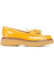 Tod's Patent Platform Loafers Yellow And Orange