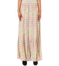 Missoni Chevron Knit Maxi Skirt Gold