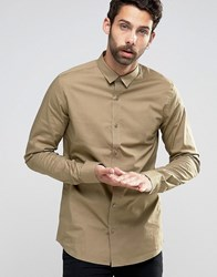 Only And Sons Skinny Shirt With Stretch Tan