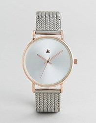 Asos Design Premium Rose Gold And Silver Mesh Watch Mixed Metal Multi