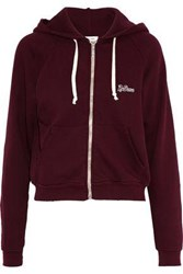 Re Done Embellished French Cotton Terry Hoodie Burgundy