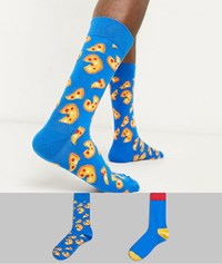 Happy Socks 2 Pack Pizza Blue