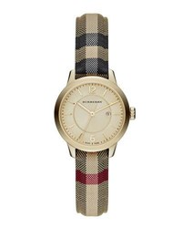 Burberry 32Mm Classic Round Watch W Check Fabric Strap Gold