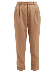 Nili Lotan Montana Pleated Twill Trousers Camel