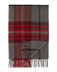 Bloomingdale's The Men's Store At Cashmere Exploded Plaid Scarf Charcoal Red