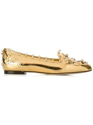 Dolce And Gabbana Flower Applique Slippers Metallic