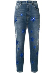 History Repeats Sequin Star Patch Skinny Jeans Women Cotton Spandex Elastane 44 Blue