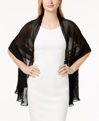 Betsey Johnson Solid Georgette Pleated Evening Wrap Black