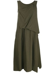 Yohji Yamamoto Draped Detail Dress Green