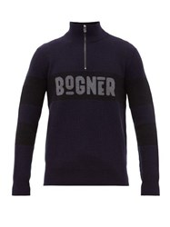 Bogner Felix Logo Intarsia Wool Blend Sweater Navy