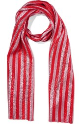 Gucci Striped Silk Blend Lame Scarf Red