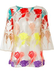 Blumarine Tulle Floral Applique Blouse Nude And Neutrals