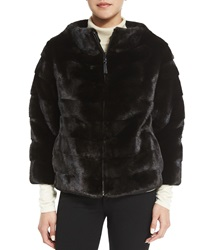 J. Mendel Zip Front Reversible Mink Fur Jacket Black