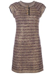 Chanel Vintage Knitted Fitted Dress Gold
