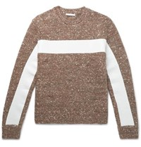 Helmut Lang Panelled Donegal Wool Alpaca And Silk Blend Sweater Brown